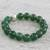 Jade beaded stretch bracelet, 'Grand Viridian' - Dyed Green Chalcedony Hammered 950 Silver Beaded Bracelet (image 2b) thumbail