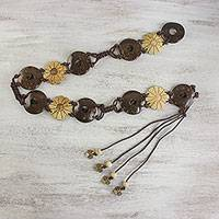Coconut shell belt, 'Nature Lover' - Flowers and Circles Coconut Shell and Nylon Cord Tie Belt