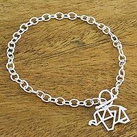 Sterling silver charm bracelet, 'Transcendental Elephant' - 925 Sterling Silver Handmade Origami Elephant Link Bracelet