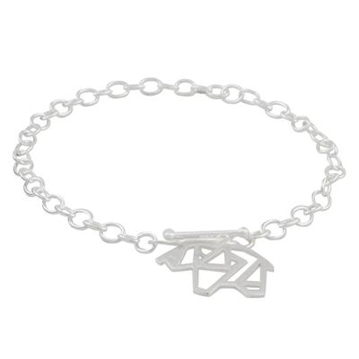 925 Sterling Silver Handmade Origami Elephant Link Bracelet