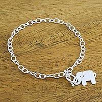 Sterling silver charm bracelet, 'Simple Elephant' - 925 Sterling Silver Handmade Elephant Link Bracelet
