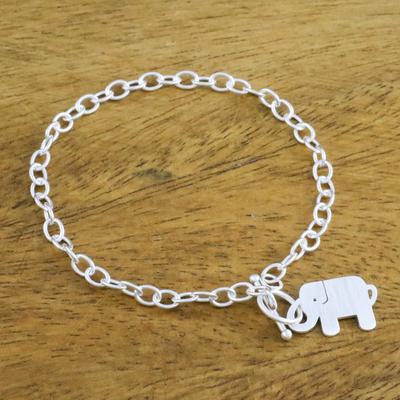 Novica Sterling silver link bracelet, Simple Elephant Family