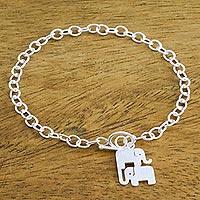 Sterling silver charm bracelet, 'Simple Elephant Family' - 925 Sterling Silver Handmade Elephant Family Charm Bracelet
