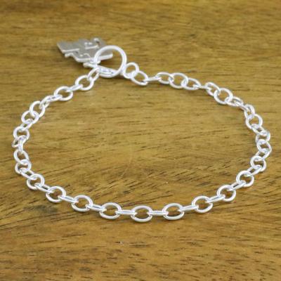 85653580071bd 925 Sterling Silver Handmade Elephant Family Charm Bracelet, 'Simple  Elephant Family'