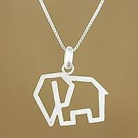 Sterling silver pendant necklace, 'Contemporary Elephant' - Handmade 925 Sterling Silver Elephant Pendant Necklace