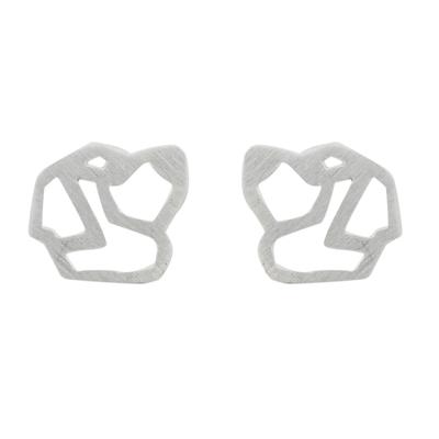 Handmade 925 Sterling Silver St. Bernard Dog Stud Earrings