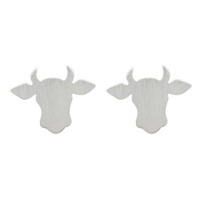 Handmade 925 Sterling Silver Bull Steer Stud Earrings