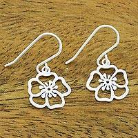Sterling silver dangle earrings, 'Satin Blooms' - Handmade Floral Satin Blooms Sterling Silver Dangle Earrings