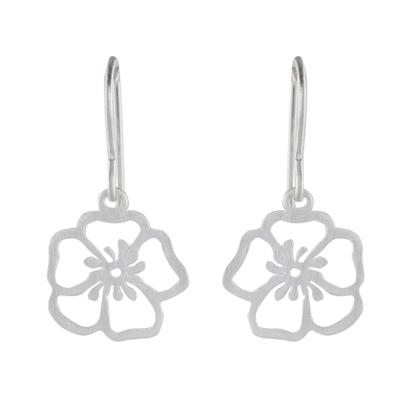 Handmade Floral Satin Blooms Sterling Silver Dangle Earrings