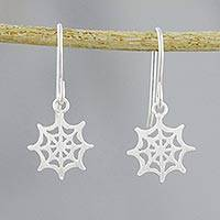 Sterling silver dangle earrings, 'Delicate Cobwebs'