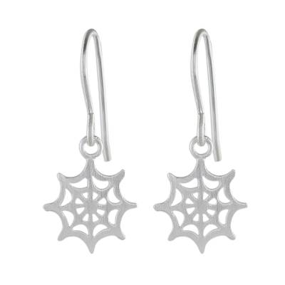 Sterling Silver Handcrafted Spider Web Dangle Earrings