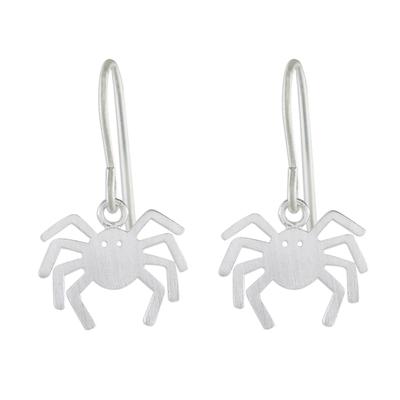 925 Sterling Silver Handmade Dangle Spider Earrings