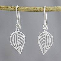 Sterling silver dangle earrings, 'Clean Leaf' - 925 Sterling Silver Handmade Leaf Dangle Earrings