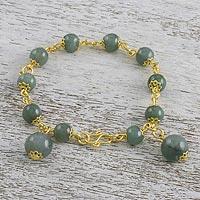 Gold plated jade link bracelet, 'Jade Deluxe' - 18K Gold Plated Jade Link Bracelet with Hook Clasp