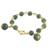 Gold plated jade link bracelet, 'Jade Deluxe' - 18K Gold Plated Jade Link Bracelet with Hook Clasp thumbail