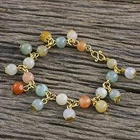 Gold plated jade and quartz link bracelet, 'Sweet Jade'