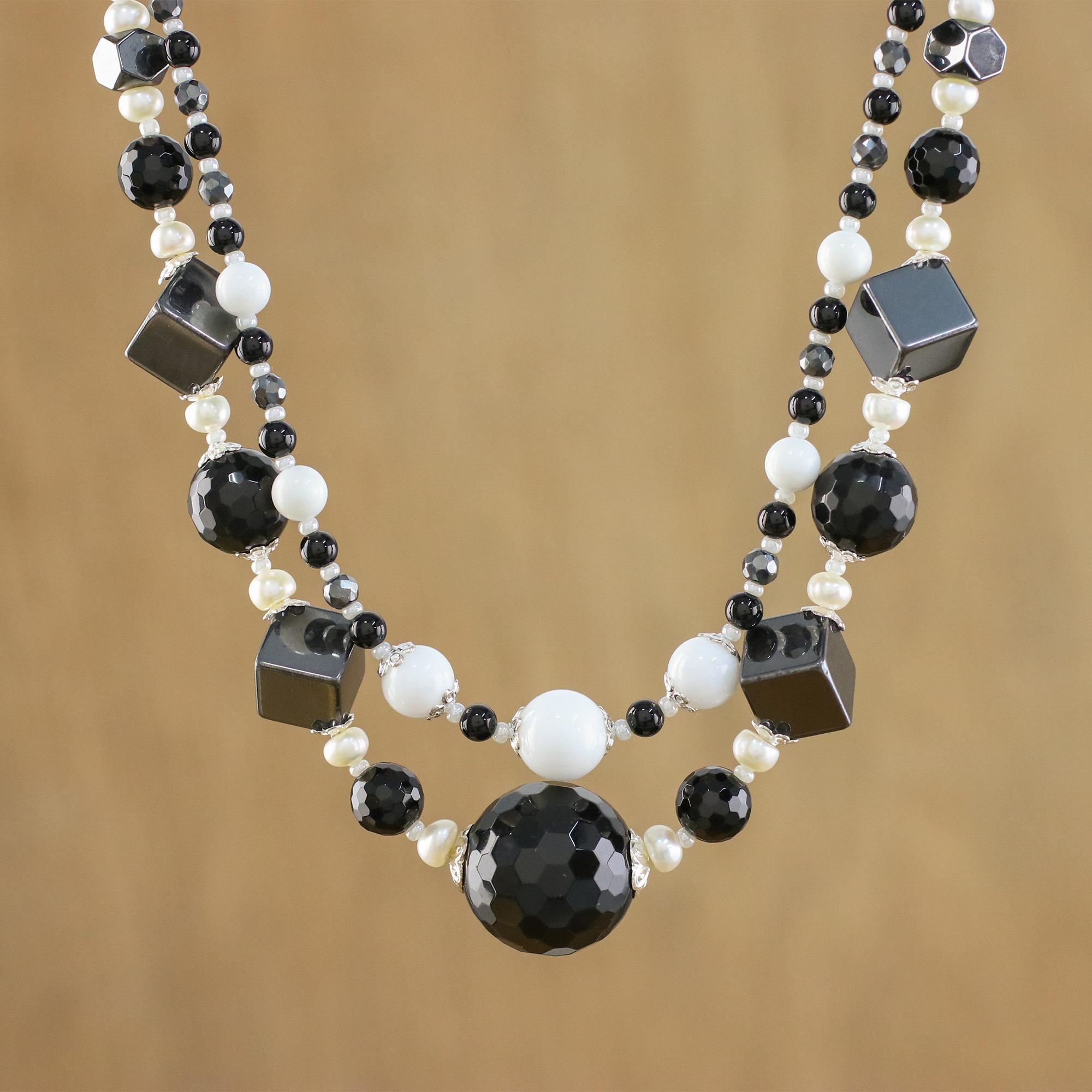 Multi-Gemstone Beaded Necklace Handmade in Thailand - Achromatic ...