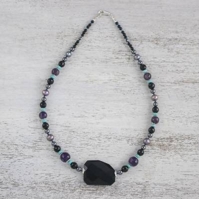 Multi-gemstone beaded necklace, 'Twilight Chic' - Multi-Gemstone Beaded Necklace Handmade in Thailand