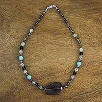 Multi-gemstone beaded pendant necklace, 'Aeon' - Multi-Gemstone Beaded Necklace Handmade in Thailand