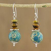 Multi-gemstone beaded dangle earrings, 'Global Wanderer' - Handmade Multi-Gemstone Beaded Dangle Earrings from Thailand
