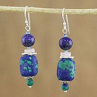 Multi-gemstone beaded dangle earrings, 'Serenity of the Deep' - Handmade Multi-Gemstone Beaded Dangle Earrings from Thailand