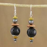 Multi-gemstone beaded dangle earrings, 'Twilight Serenity' - Handmade Multi-Gemstone Beaded Dangle Earrings from Thailand