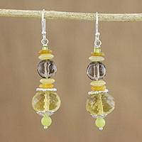 Multi-gemstone beaded dangle earrings, 'Unity of Nature' - Handmade Multi-Gemstone Beaded Dangle Earrings from Thailand