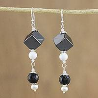 Multi-gemstone beaded dangle earrings, 'Achromatic Allure' - Handmade Multi-Gemstone Beaded Dangle Earrings from Thailand