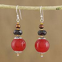 Multi-gemstone beaded dangle earrings, 'Daybreak Bloom' - Handmade Multi-Gemstone Beaded Dangle Earrings from Thailand