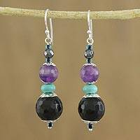 Multi-gemstone beaded dangle earrings, 'Twilight Chic' - Handmade Multi-Gemstone Beaded Dangle Earrings from Thailand