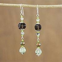Multi-gemstone beaded dangle earrings, 'Aeon' - Handmade Multi-Gemstone Beaded Dangle Earrings from Thailand