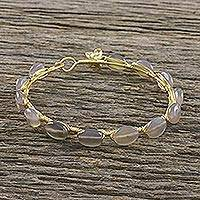 Gold plated moonstone bangle bracelet, 'Romantic Fling' - 18k Gold Plated Moonstone Bangle Bracelet from Thailand