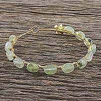 Gold plated prehnite bangle bracelet, 'Romantic Fling'