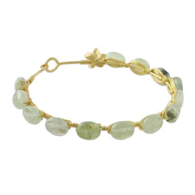 Gold plated prehnite bangle bracelet, 'Romantic Fling' - 18k Gold Plated Prehnite Bangle Bracelet from Thailand