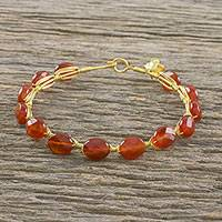 Gold plated carnelian bangle bracelet, 'Romantic Fling' - 18k Gold Plated Carnelian Bangle Bracelet from Thailand