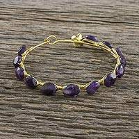Gold plated amethyst bangle bracelet, 'Romantic Fling' - 18k Gold Plated Amethyst Bangle Bracelet from Thailand