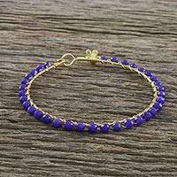 Gold plated quartz bangle bracelet, 'Fall in Love in Blue' - Gold Plated Blue Quartz Bangle Bracelet from Thailand