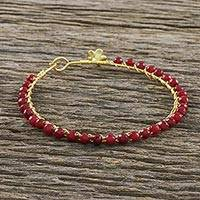 Gold plated quartz bangle bracelet, 'Fall in Love in Red' - Gold Plated Red Quartz Bangle Bracelet from Thailand