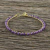 Gold plated amethyst bangle bracelet, 'Fall in Love' - Gold Plated Amethyst Beaded Bangle Bracelet from Thailand