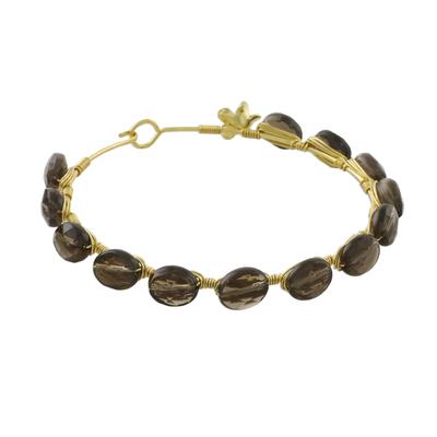 Gold plated smoky quartz bangle bracelet, 'Romantic Fling' - Gold Plated Thai Smoky Quartz Beaded Bangle Bracelet