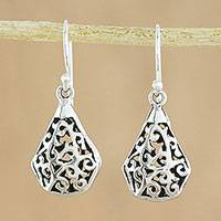 Sterling silver dangle earrings, 'Entwining Eternity' - Sterling Silver Dangle Earrings Hand Crafted in Thailand