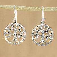 Sterling silver dangle earrings, 'Eternity Tree' - Sterling Silver Tree Dangle Earrings Handmade in Thailand
