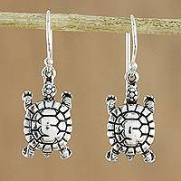 Sterling silver dangle earrings, 'Turtle Parade' - 925 Sterling Silver Handmade Cute Turtle Dangle Earrings
