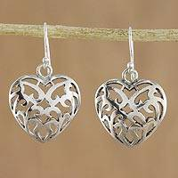 Sterling silver dangle earrings, 'Entwining Love' - Sterling Silver Heart Dangle Earrings Handmade in Thailand