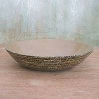 Bamboo decorative bowl, 'Natural Refuge' - Handcrafted Bamboo Decorative Bowl from Thailand