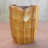 Wood decorative vase, 'Nature's Vessel' - Raintree Wood Raintree Wood Vase with Tortoise Shell Texture