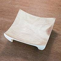 Wood catchall, 'Graceful Symmetry' - Square Hand Crafted Raintree Wood Catchall