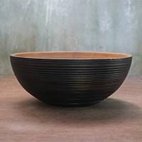 Wood decorative bowl, 'Modern Groove' - Black Exterior Hand Crafted Raintree Wood Decorative Bowl