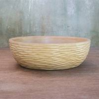 Wood decorative bowl, 'Cirrus Clouds' - Hand Crafted Rustic Thai Raintree Wood Decorative Bowl