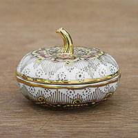 Benjarong porcelain decorative jar, 'Royal Pumpkin' - Gilded Benjarong Porcelain Decorative Jar from Thailand